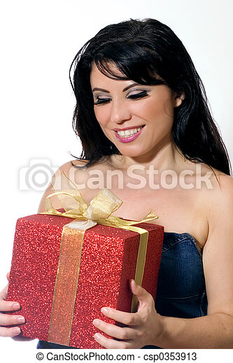 Woman holding a gift. - csp0353913