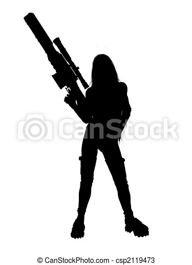 Woman Holding A Gun Silhouette - csp2119473