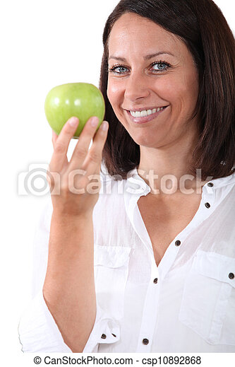 Woman holding an apple - csp10892868
