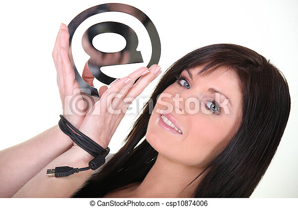 Woman holding an @ sign - csp10874006