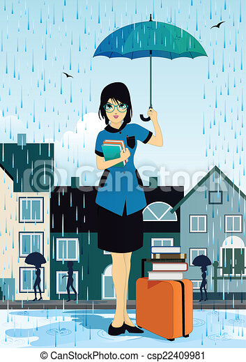 Woman holding an umbrella - csp22409981
