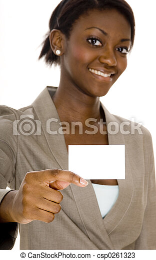 woman holding business card a young black woman holds up a business