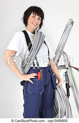 Woman holding corrugated tubing - csp10456905