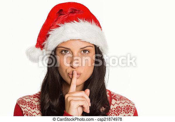 Woman holding finger to lips - csp21874978