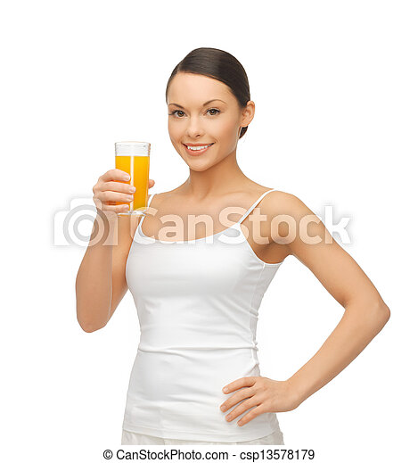 woman holding glass of orange juice - csp13578179