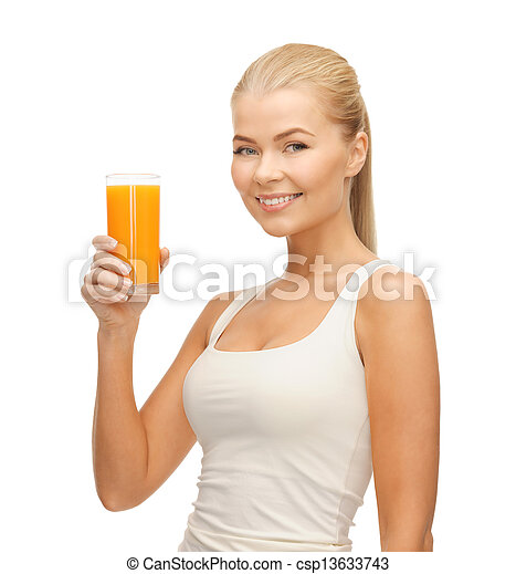 woman holding glass of orange juice - csp13633743