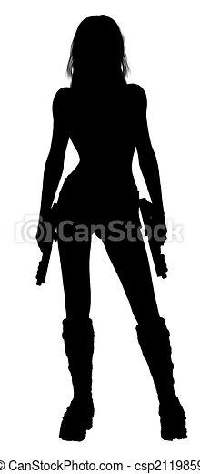 Woman Holding Guns Silhouette - csp2119859