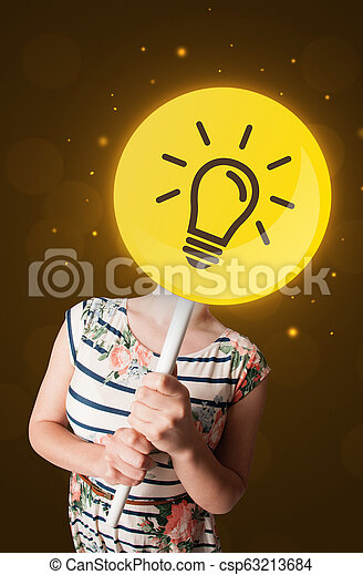 Woman holding lightbulb sign - csp63213684