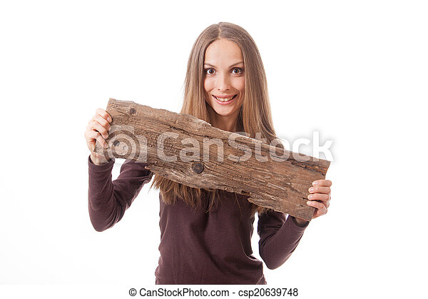 woman holding old wooden board - csp20639748