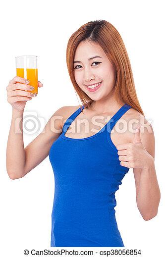 woman holding orange juice - csp38056854