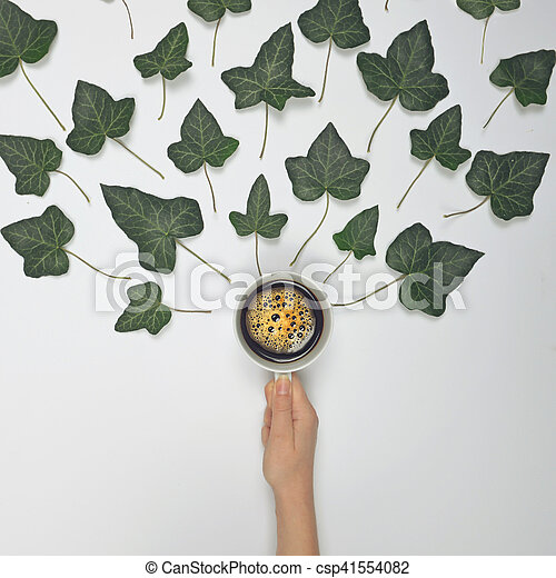 Woman holding perfect cup of coffee on white background with green leaves - Flat lay design - csp41554082