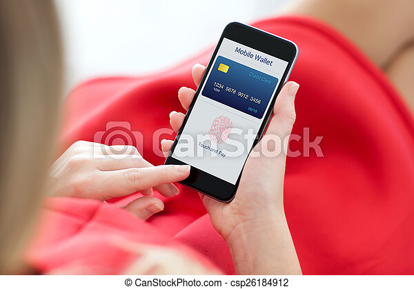 woman holding phone with fingerprint for online shopping - csp26184912