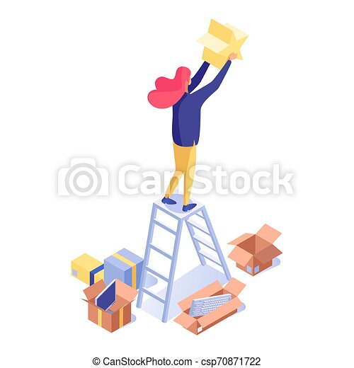 Woman holding rating star isometric illustration. Female shop assistant, seller standing on ladder and decorating store vector 3d character. Commerce and trade industry, marketing isolated clipart - csp70871722