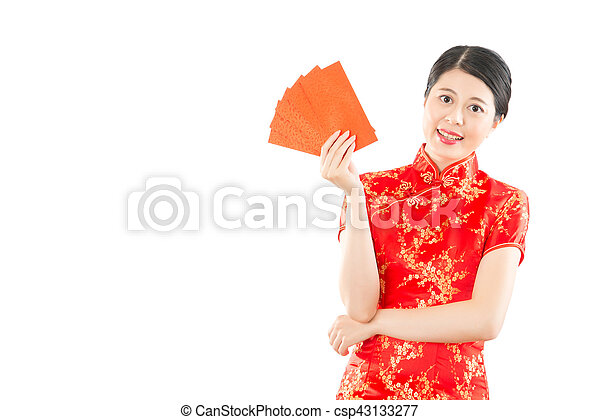 woman holding red envelope lucky money