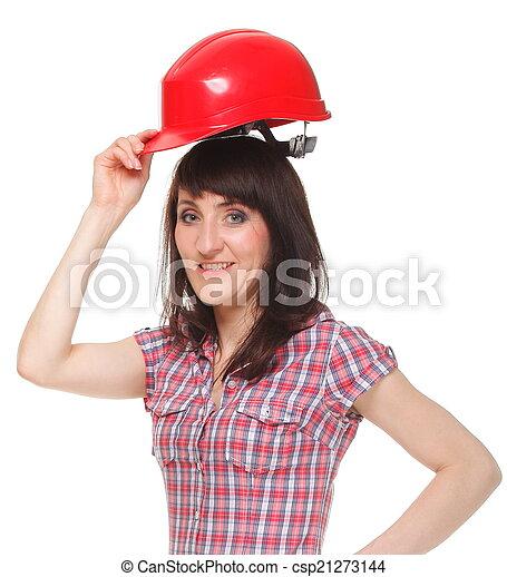 Woman holding red helmet - csp21273144