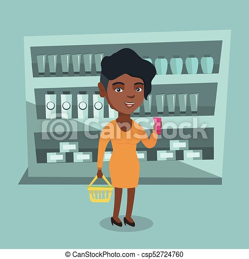 Woman Holding Shopping Basket And A Tube Of Cream Csp52724760