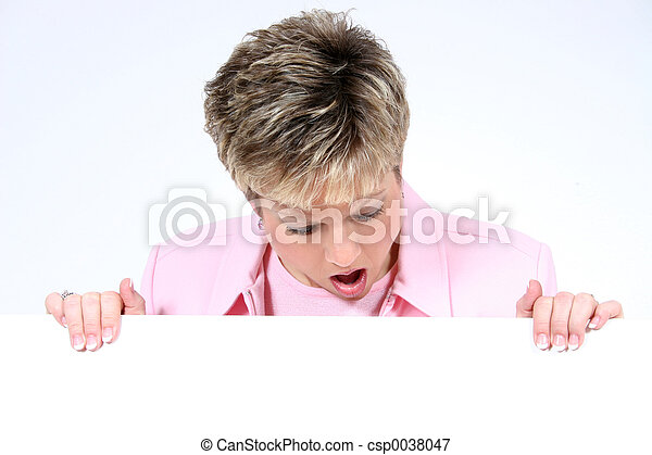Woman Holding Sign - csp0038047