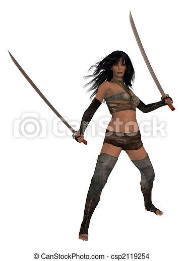Woman Holding Swords - csp2119254
