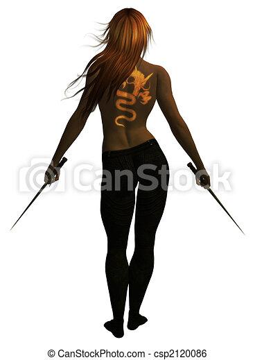 Woman Holding Swords - csp2120086