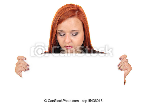 woman holding up a blank banner - csp15436016