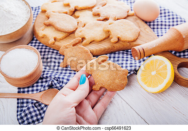 Woman holds Easter bunny-shaped cookie surrounded with ingredients. - csp66491623