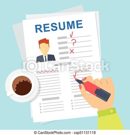 Woman Hr Edit Resume Recruitment Vector Vector Infographics