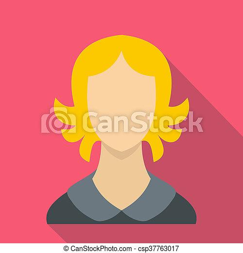 Woman icon, flat style - csp37763017