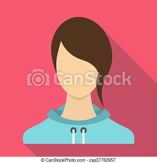 Woman icon, flat style - csp37762957