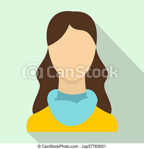 Woman icon, flat style - csp37763001