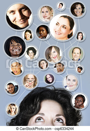 woman in 30s social networking - csp6334244