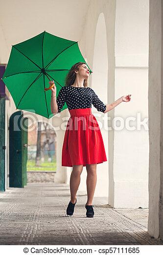 woman in a beautiful dress - csp57111685