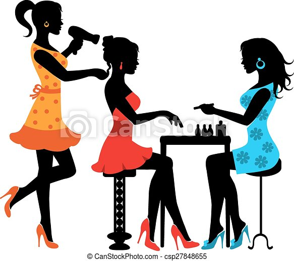 woman in a beauty salon with a manicurist and hairdresser clipart rh canstockphoto com free clipart images beauty salon Cosmetology Clip Art Free