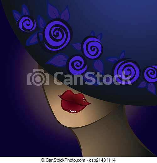 woman in a blue hat - csp21431114