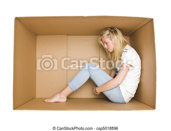 Woman in a cardboard box - csp5018896