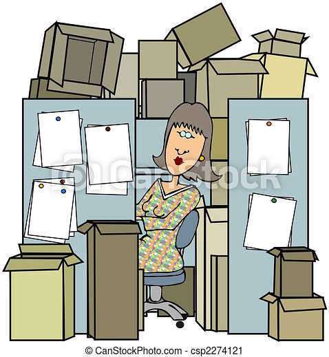 Woman In A Cluttered Cubicle - csp2274121