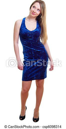 woman in a dark blue dress - csp6098314