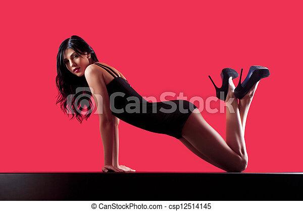woman in a dark dress - csp12514145