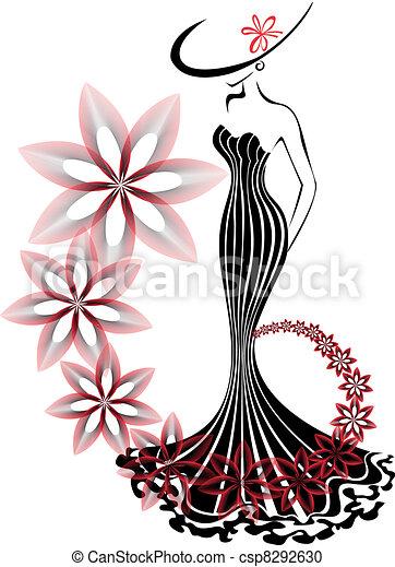 woman in a flower vortex - csp8292630