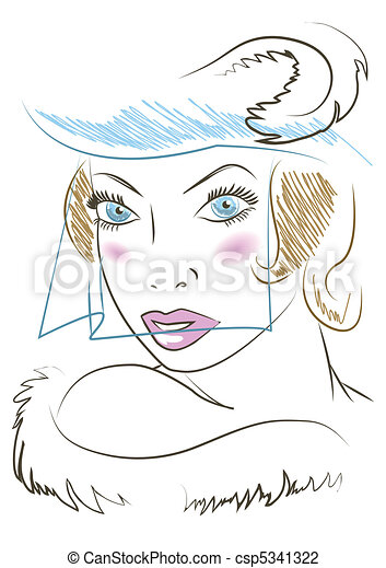 Woman in a hat. Retro-style. - csp5341322