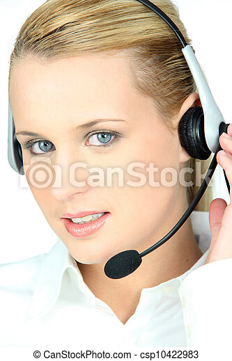 Woman in a headset - csp10422983