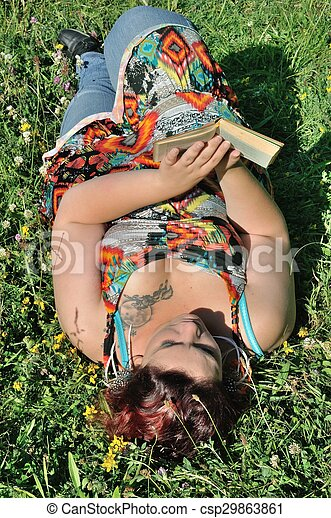 Woman in a meadow - csp29863861