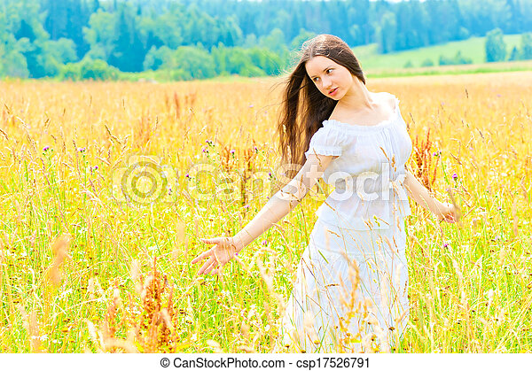 woman in a white dress in a yellow box - csp17526791