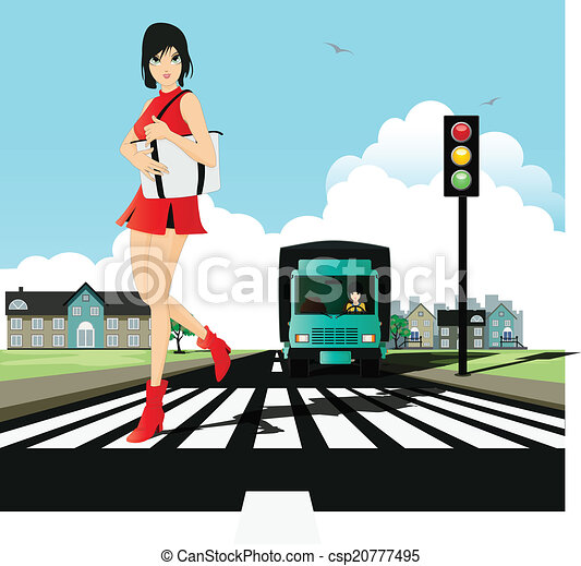 Woman In A Zebra Crossing With Traffic Lights