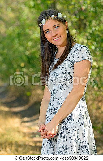 woman in autumn forest - csp30343022