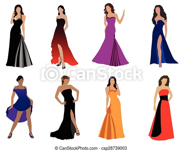 e04e49457f256 Woman in beautiful dress. Women in beautiful evening dresses, color ...