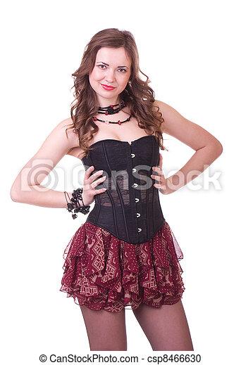 woman in black corset - csp8466630