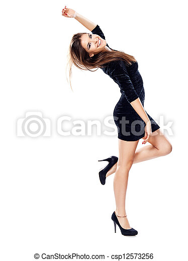 woman in black dress on heels - csp12573256