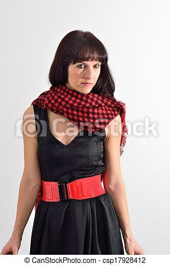 Woman in black dress - csp17928412