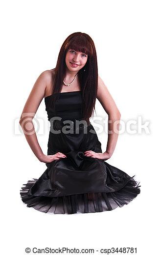 woman in black dress - csp3448781