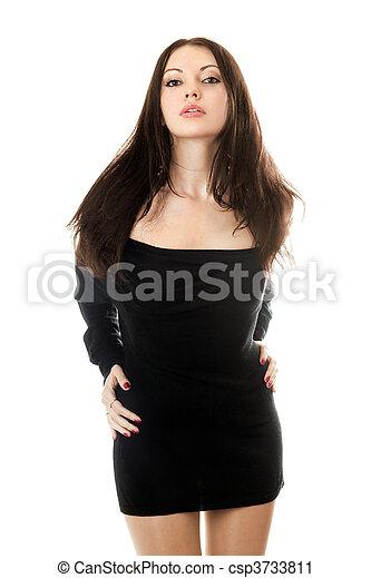 woman in black dress - csp3733811